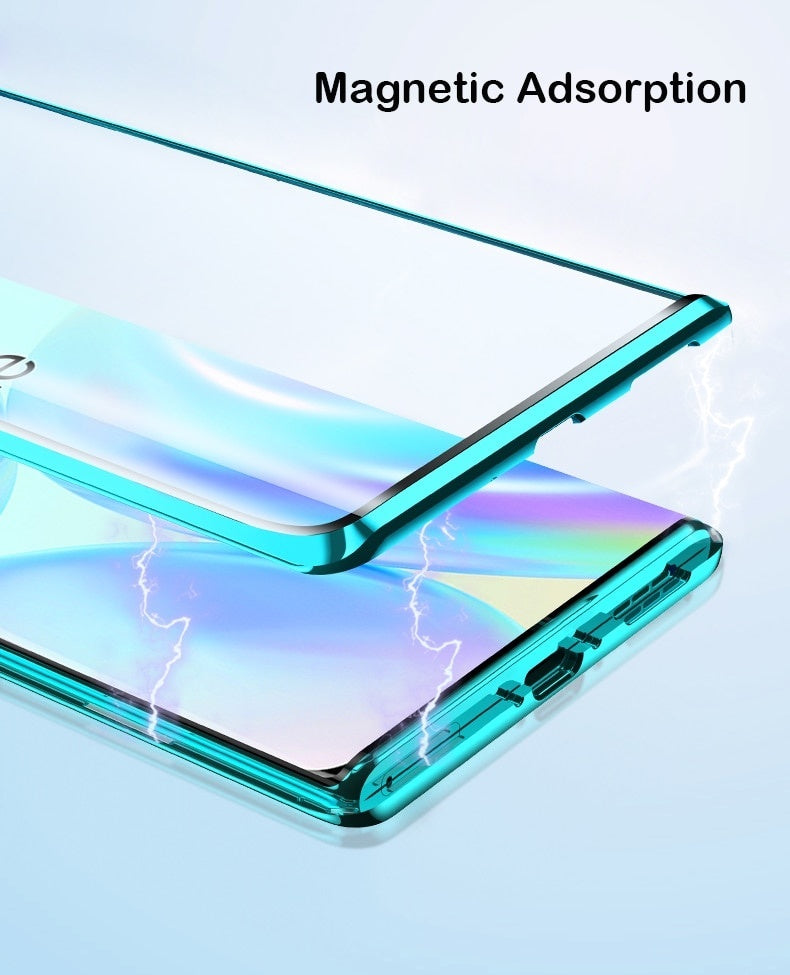 360 Full Magnetic Case For Oneplus 8 8 Pro Coque 5G Aluminum Metal Bumper Double Glass Cover For Oneplus 7T 7 Pro 6 Phone Case
