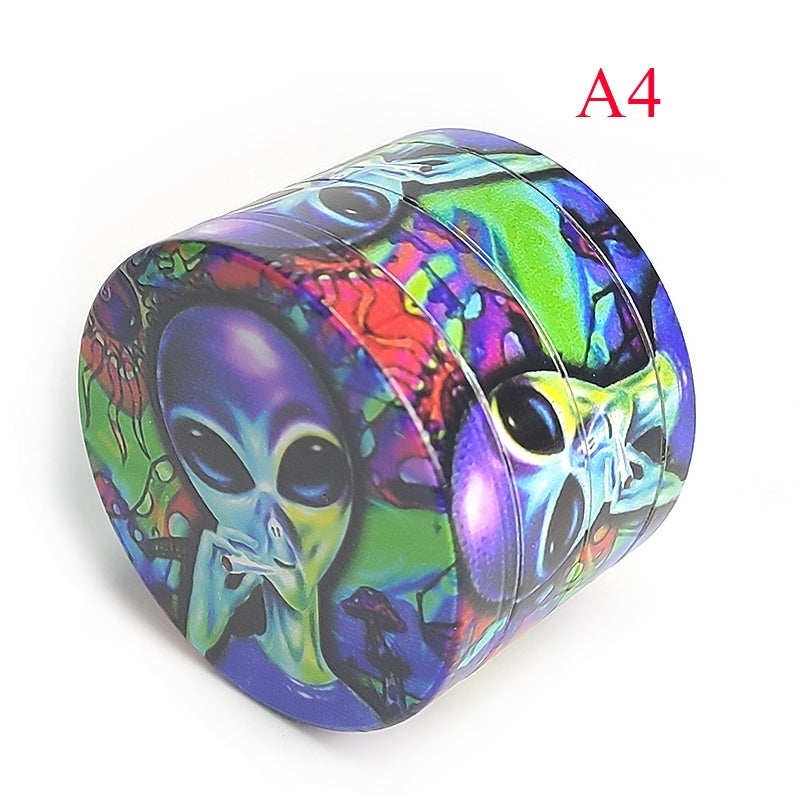 Herb Grinder 50mm diameter Alien Pattern Metal For Smoking