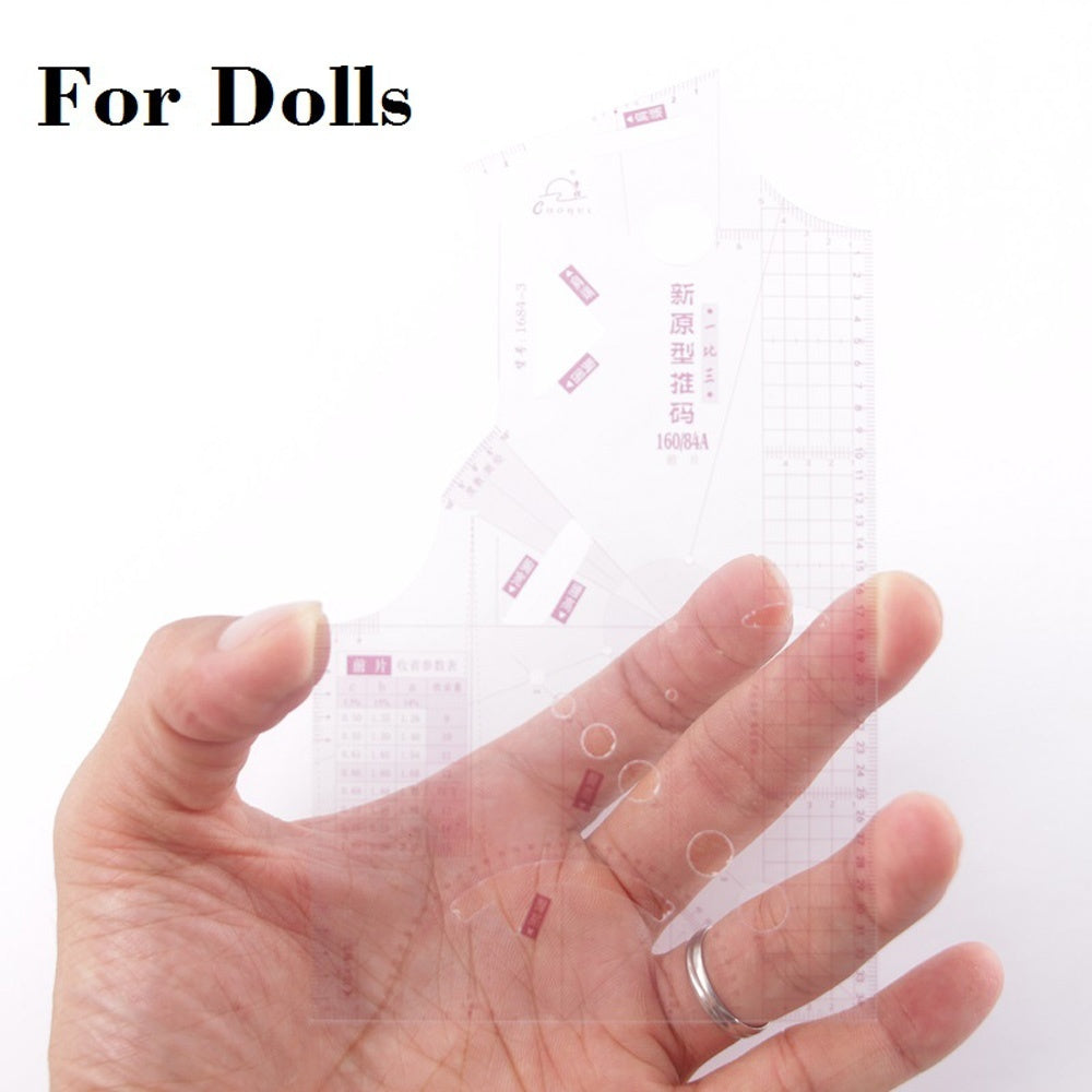 Small 1:3 For Doll Craft Cloth Garment Template Measure Ruler Design Ruler French Curve Ruler Pattern Making