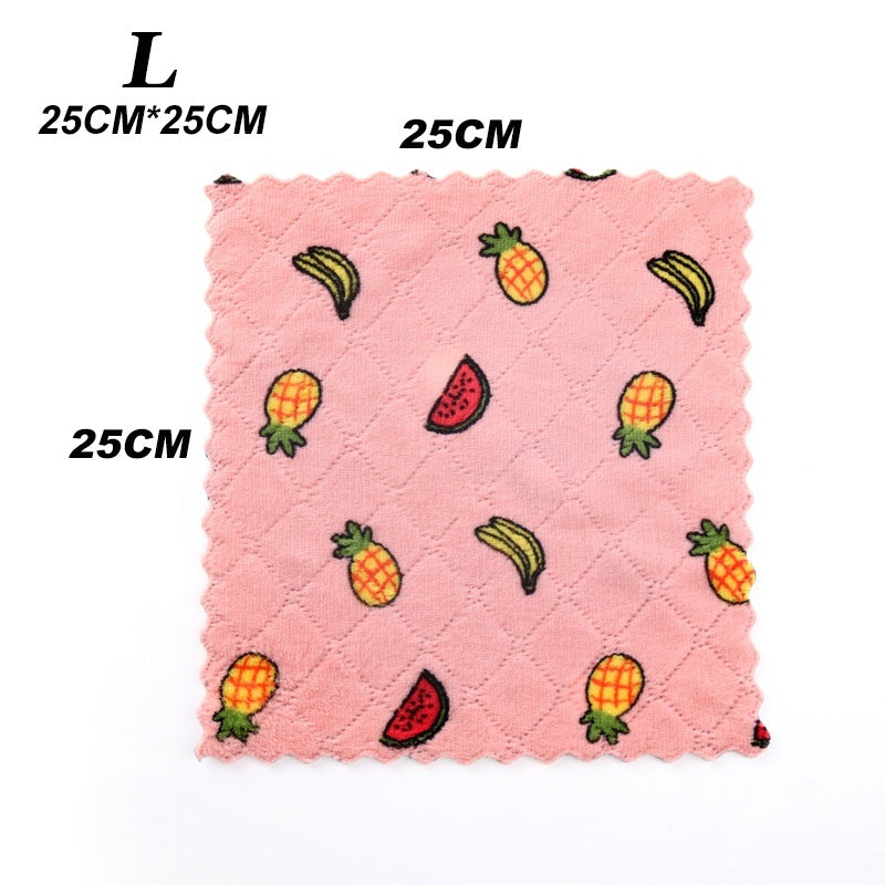 New Home Kitchen Cleaning Tools Dishcloth Superfine Fiber Multifunction Cartoon Printed Double-sided Rag Scouring Pad Degrease Super Absorbent Cleaning Cloth Dish Towels