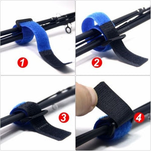 2/10PCS Reusable Fishing Rod Tie Holder Strap Suspenders Fastener Hook Loop Cable Cord Ties Belt Fishing Tackle Box Accessories(Color:Random )