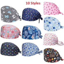 Load image into Gallery viewer, 10 Styles Unisex Floral Print Adjustable Medical Scrub Cap Doctor Nurses Kitchen Cotton Casual Beauty Cap