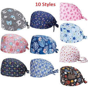 10 Styles Unisex Floral Print Adjustable Medical Scrub Cap Doctor Nurses Kitchen Cotton Casual Beauty Cap