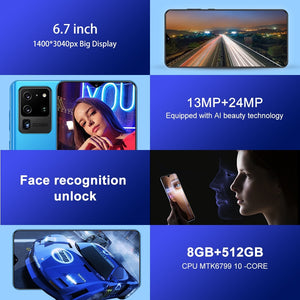 S30U+ Android 10.0 Smartphone 6.7 Inches Large Memory 8GB+512GB Ultra-thin Face/fingerprint Unlock Dual Card Phone Supports