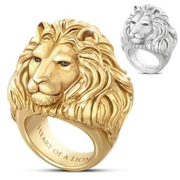 Exquisite Men's Stainless Steel Handsome Lion Head Ring 18K Gold Rings and Sterling Silver Rings for Men Punk Style Wedding Band Accessories Christmas Gifts