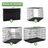 Dog Crate Extra Large Double Door Folding Dog Cage Pet Crate w/Divider & Tray ,42'