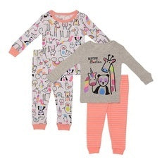 Night Life Bedtime Besties Snug Fit Cotton Pajamas - Set of 2