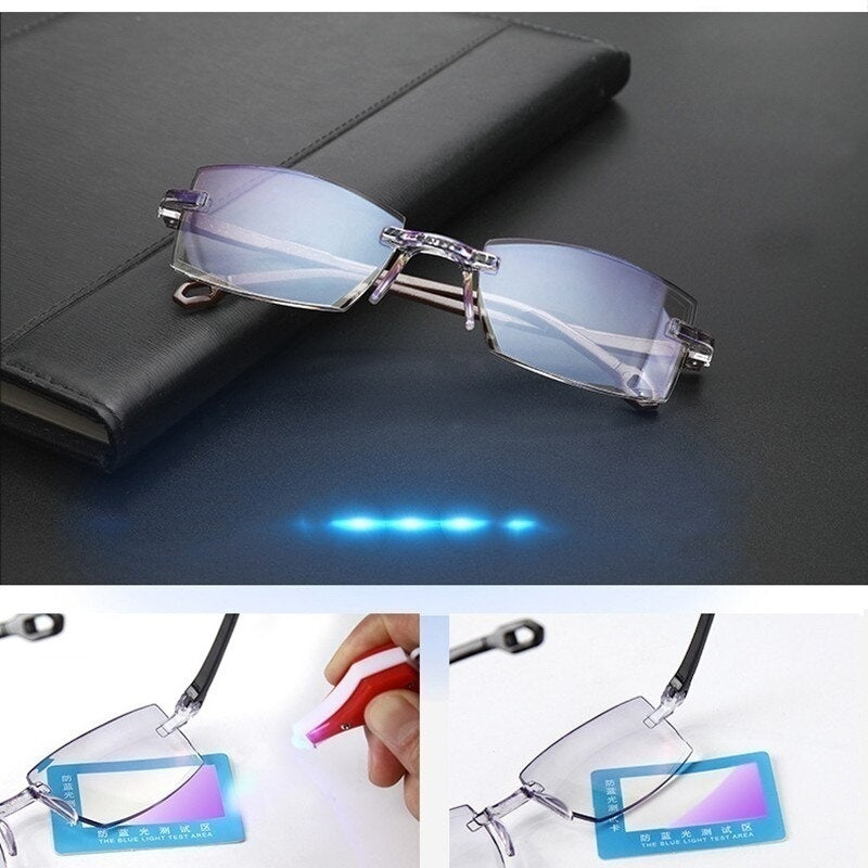 Men Women Rimless Reading Glasses Bifocal Far Near Anti Blue Light Magnification Glasses Presbyopia Glasses Diopter +1.0 +1.5 +2.0 +2.5 +3.0 +3.5 +4.0