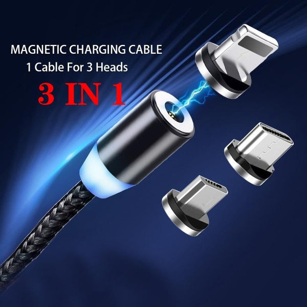 2.4A Fast Charging Magnetic Charger USB-C Braided Phone Cable for Type C / IOS / Micro USB 1M/2M