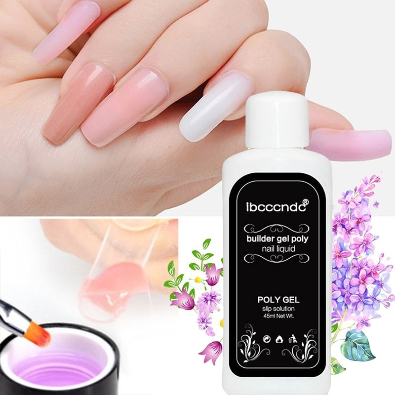 3Pcs/Set Polygel Nail Liquid Slip Solution Uv Builder Poly Gel Nail Tips Extension Brush Cleaner Acrylic Glass