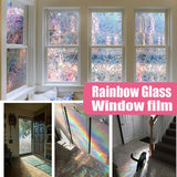 3D Window Glass Colorful Film Sticker Stained Anti UV Self-adhesive Rainbow Sticker