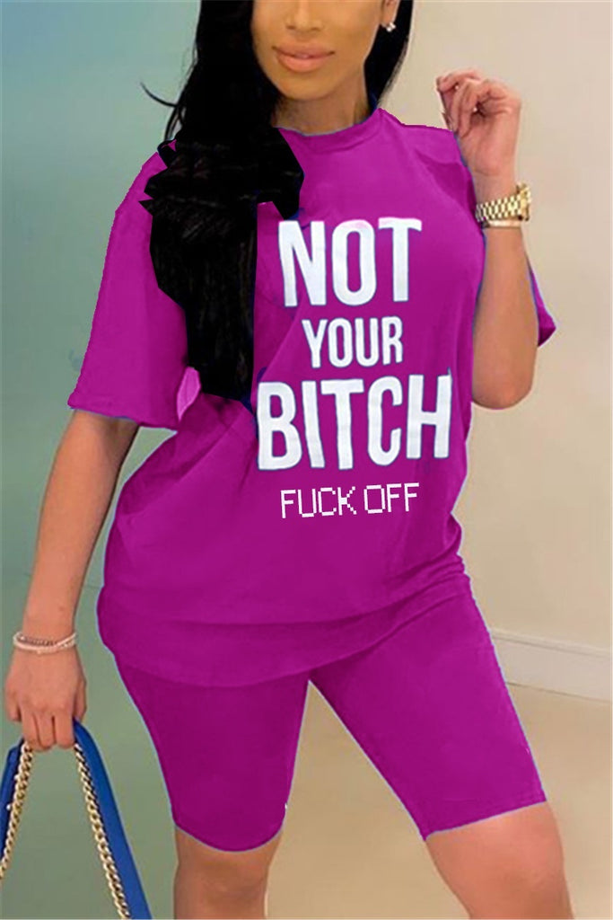 NOT YOUR BITCH FUCK OFF Letters Printed 2 Pcs Sets Women's Fashion Casual Short Sleeve Top + Slim Fitting Shorts