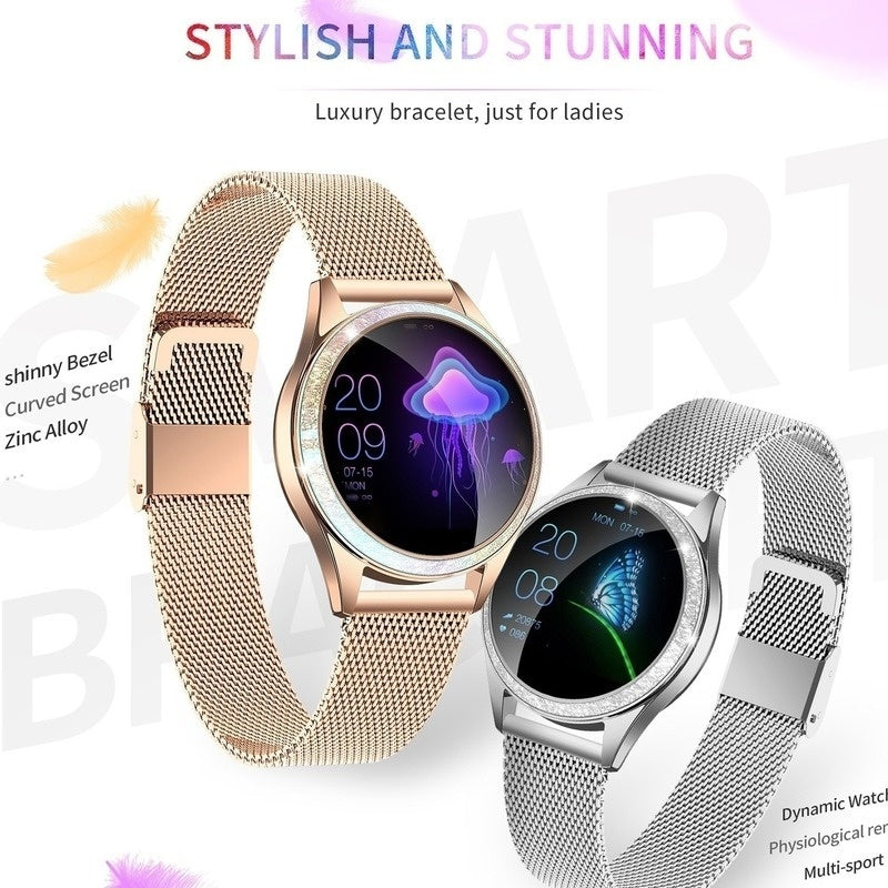 Smart Watch Women IP68 Waterproof Heart Rate Monitoring Stainless Steel Smart Watch Fitness Bracelet Smartwatch Best Gift for Girl Friend Women Ladies