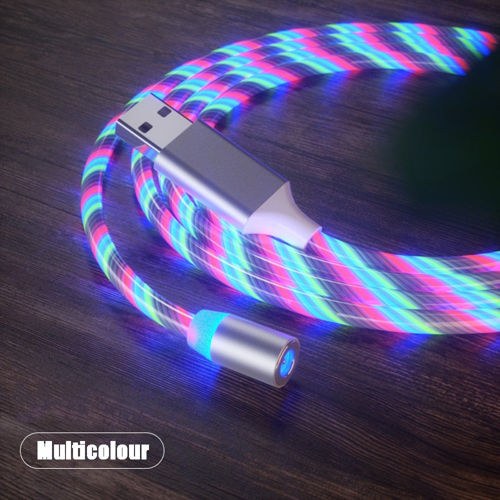 LED Magnetic Phone Charger Cable - Light Up Phone Charger Cable Compatible with IOS Typec Micro Android Device Charging