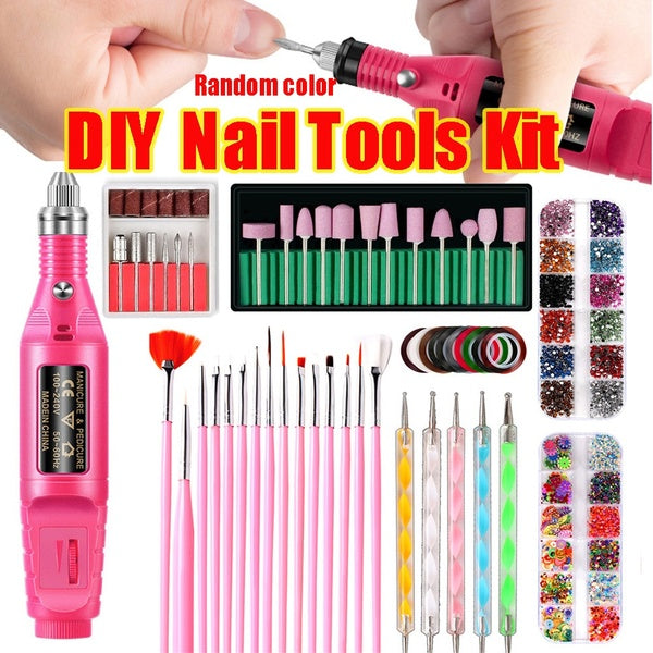 Electric Nail Drill Machine Manicure Set Pedicure Nail Drill File Gel Remove Polishing Tool Portable Equipment(Random color)