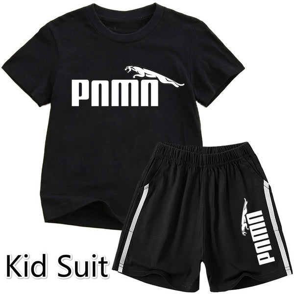 Summer New Boys and Girls Universal Printing Short-sleeved Shirt Pants Casual Suit Children T-shirt Suit