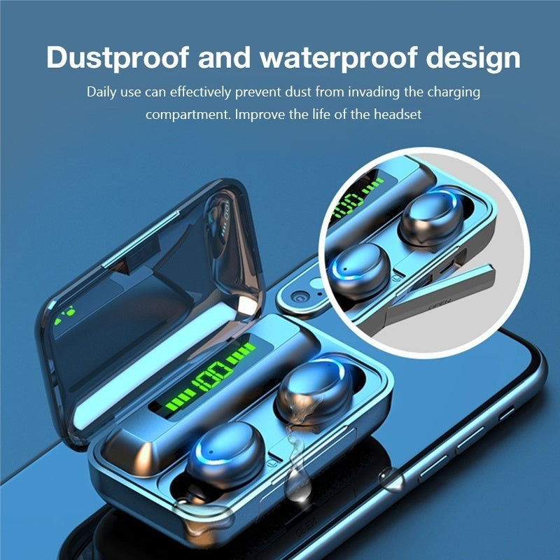 2020 New 9D HiFi Bluetooth 5.0 CVC8.0 Noise Reduction Stereo Wireless TWS Bluetooth Headset LED Display Headset Waterproof Dual Headphones with Power Bank Chagring case (Monaural Version 100/1200mAh or Led Binaural Version 4000mAh)