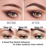 5/2/1Pcs  Microblading Tattoo Eyebrow Pencil Waterproof Fork Tip 4 Head Fine Sketch Liquid Eyebrow Enhancer Dye Tint Pen 5 Colors