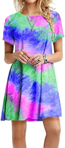Short Sleeve Dresses Women Printed Tie Dye Dress Summer Casual Gradient Short Sleeve Dress
