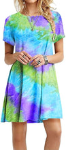 Load image into Gallery viewer, Short Sleeve Dresses Women Printed Tie Dye Dress Summer Casual Gradient Short Sleeve Dress
