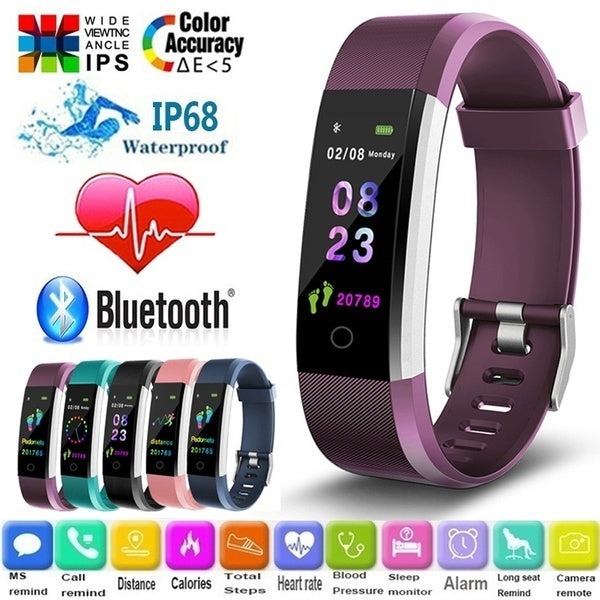 2020 NEW Smart Watch Health Bracelet Wristband Fitness Tracker Blood Pressure for Men Women and Kids Colorful 5