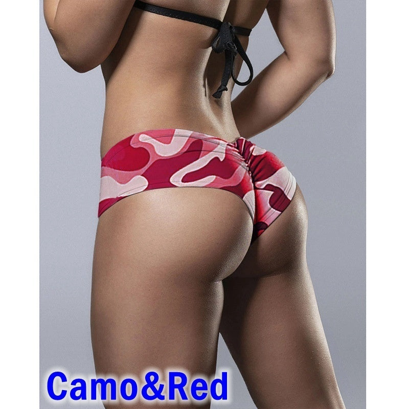 Women's Sexy Booty Yoga Shorts Ruched Butt Lifting Workout Running Hot Leggings Camouflage Print Fitness Shorts