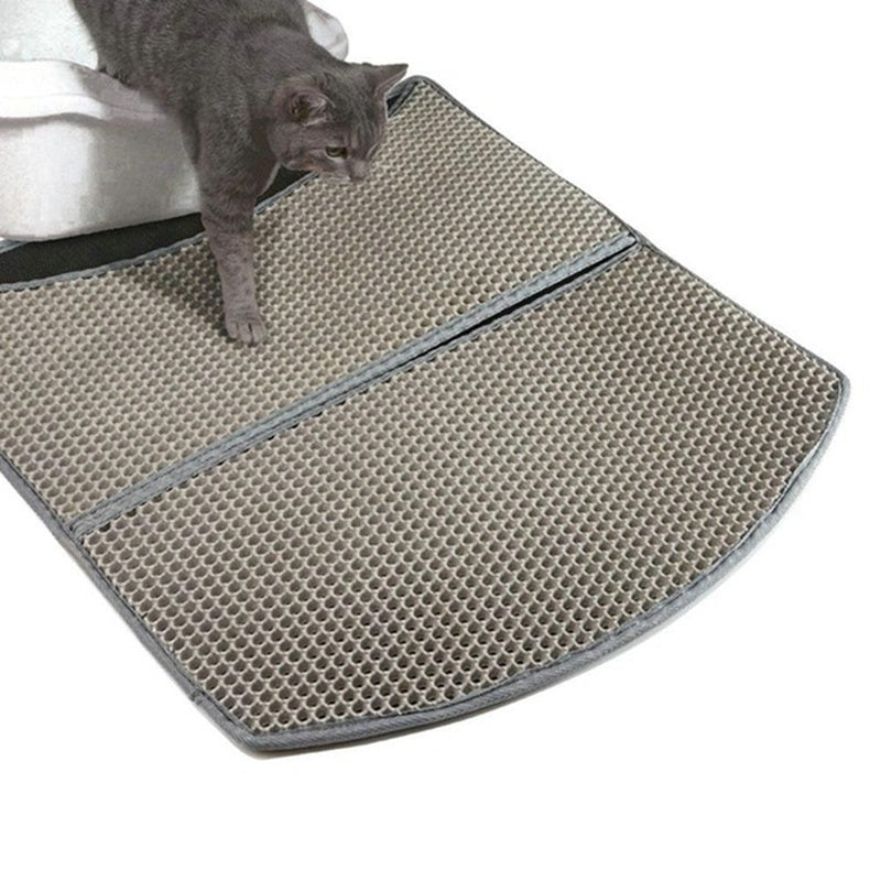 Pet Mat Cat Rubbed Foot Pad Hollow Clean Leak-proof Cat Litter Small Medium Large Waterproof Cat Litter Mat Pad Premium Double Cat Litter Box Trapper Mat Pad Large Honeycomb with Waterproof Base Layer EVA Foam Rubber WUD