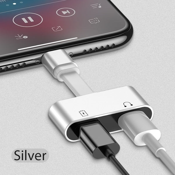 2 in 1 for Lightning Adapter For iPhone 7 Charging Adapter For iPhone 8 7 Plus 10 X Charger Splitter Headphone Adapter