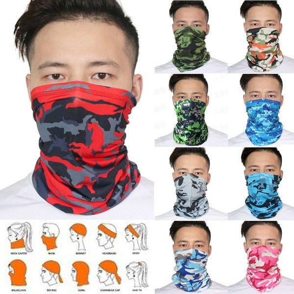 9 Colors Sun UV Protection Seamless Camouflage Motorcycle Cycling Face Mask Neck Gaiter Windproof Scarf Sunscreen Breathable Bandana Balaclava for Women Men Sport&Outdoor