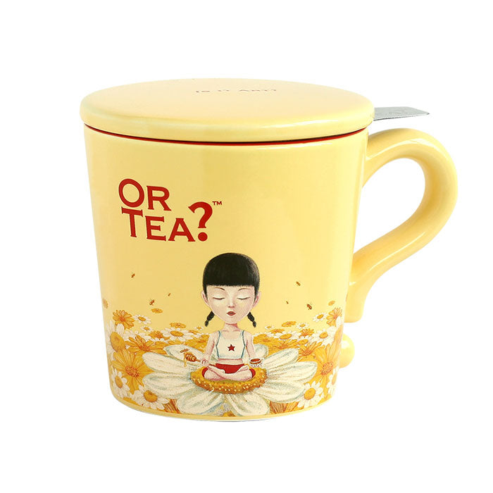 OR TEA? Ivory Mug - Ceramic Mug with Stainless Steel Infuser