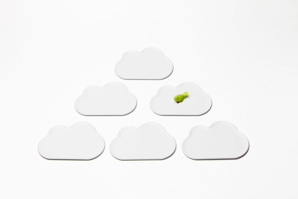 Qualy Cloud Small Tray - Coaster 6pcs WH