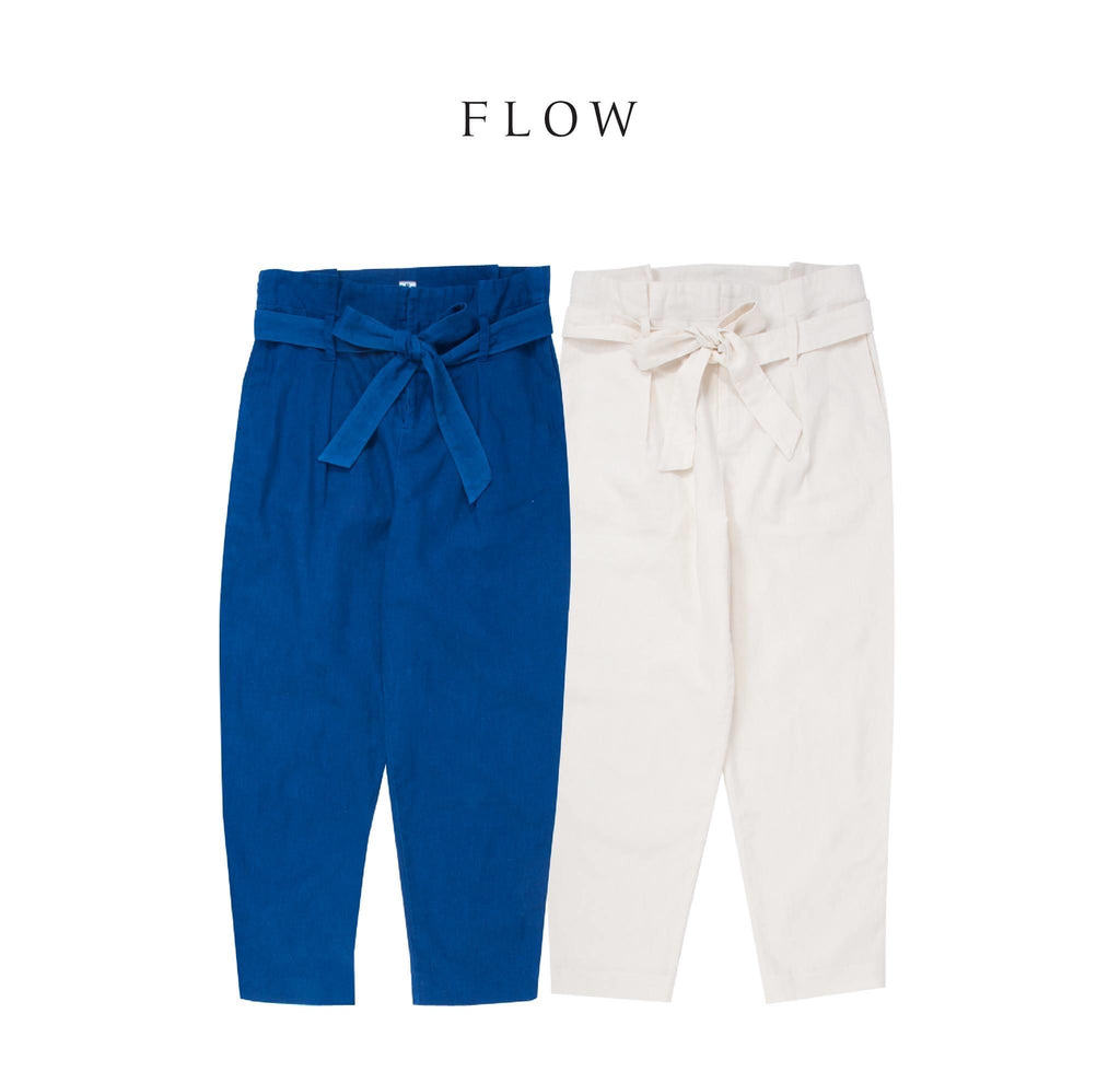 FLOW-Pants w ribbon belt-Indigo