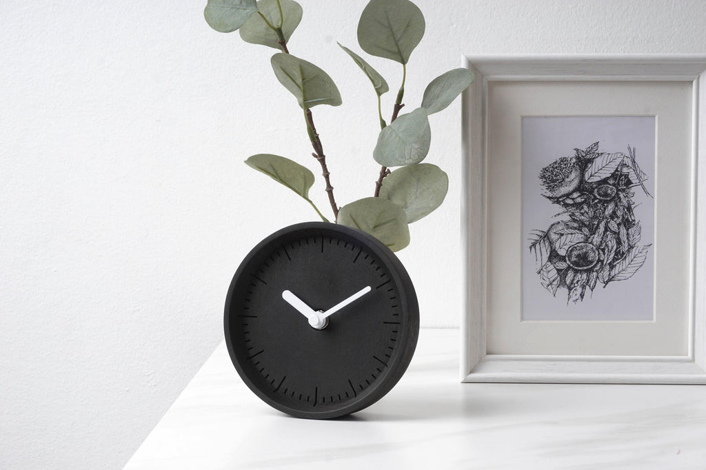 PANA Milli Black Table-Wall Clock white hands