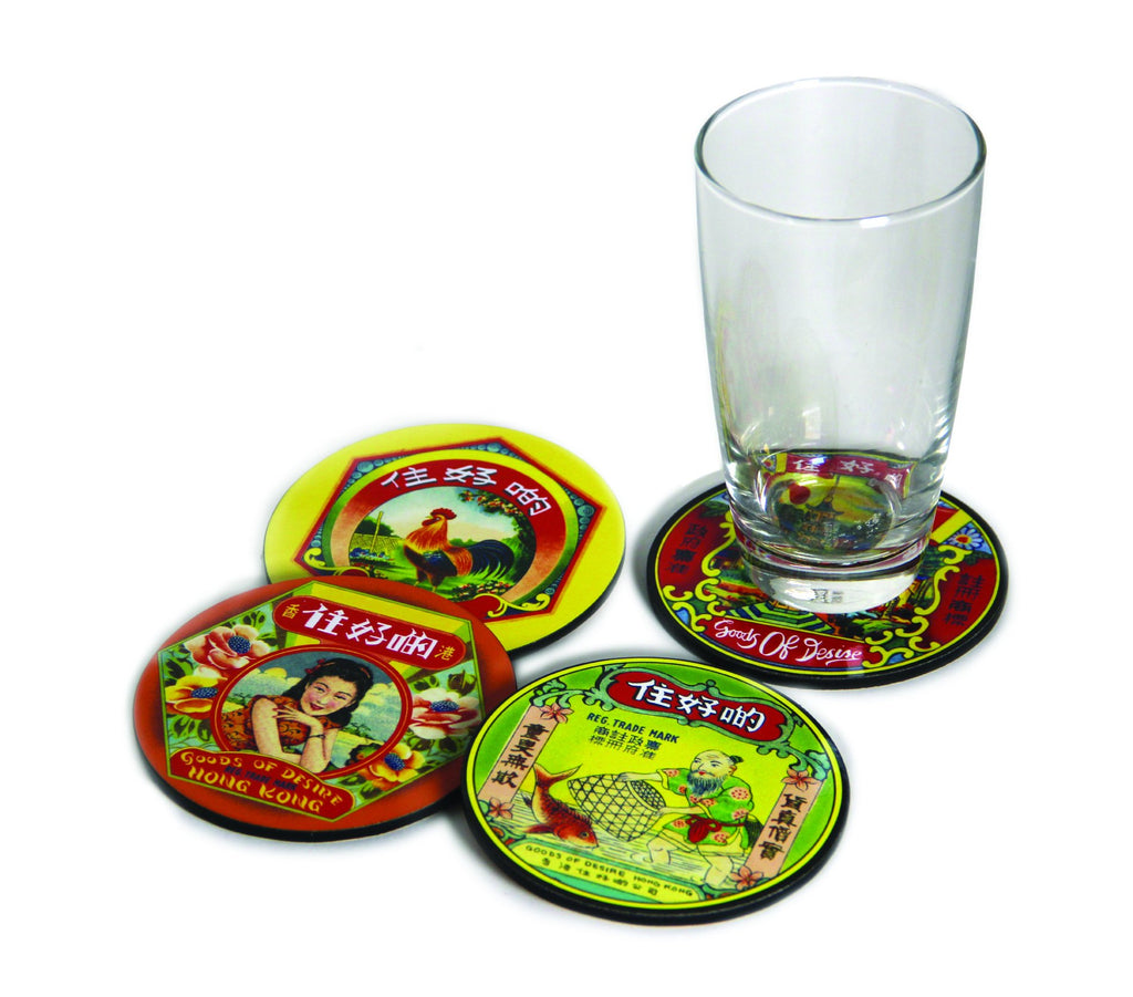 "'CHINESE LABELS' Coaster Set of 4 ""住好啲""杯墊4件套"