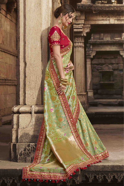 A Green and Dark-Red Colour Beautiful Silk Saree for Women?s