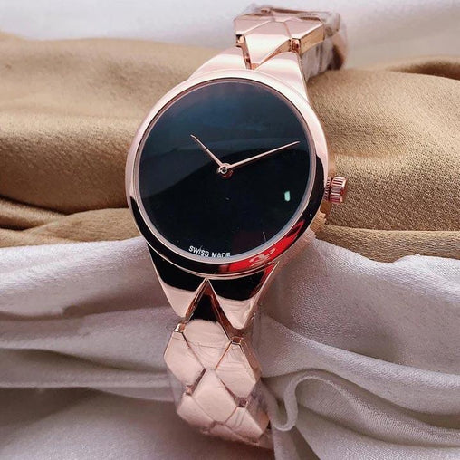 Steel Belt Black Dial Watch For Women