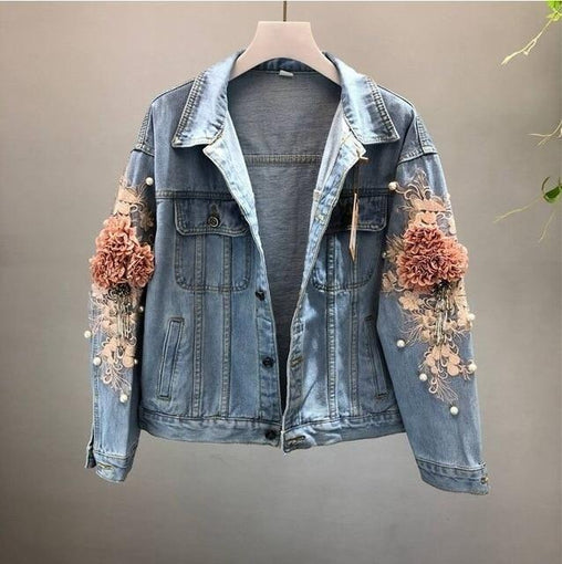 3D Embroidered Flower Pearl Bead Denim Jacket