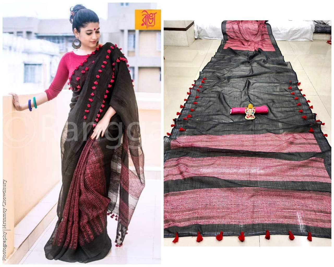 Orignal banarasi Black And Maroon colour Silk Saree