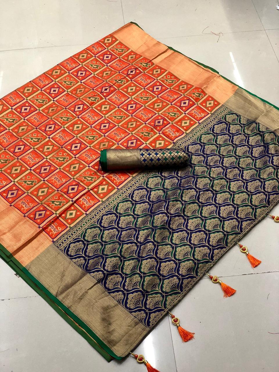 Orignal Banarasi  Multy colour Silk Saree