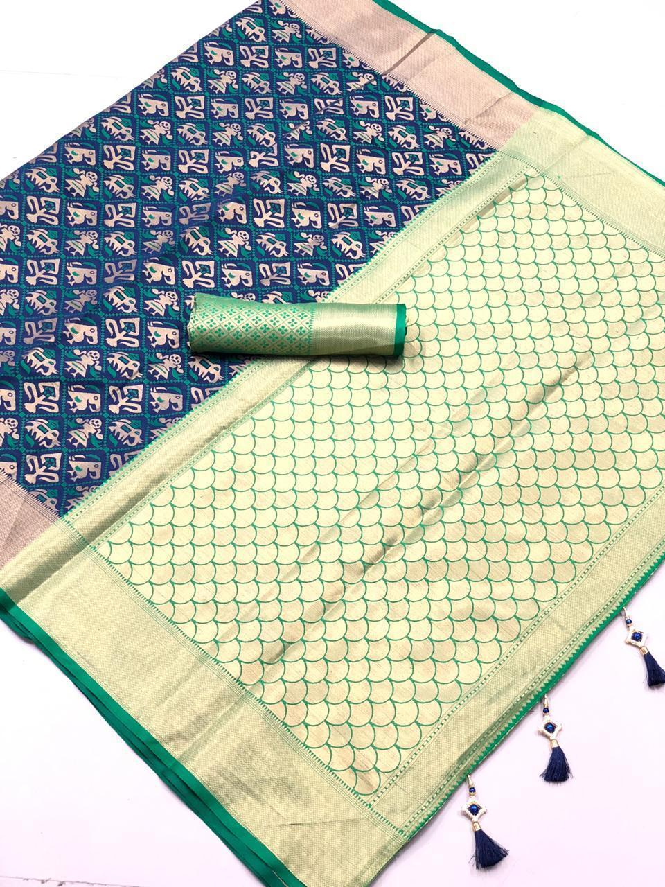 Orignal Banarasi Blue & Green colour Silk Saree