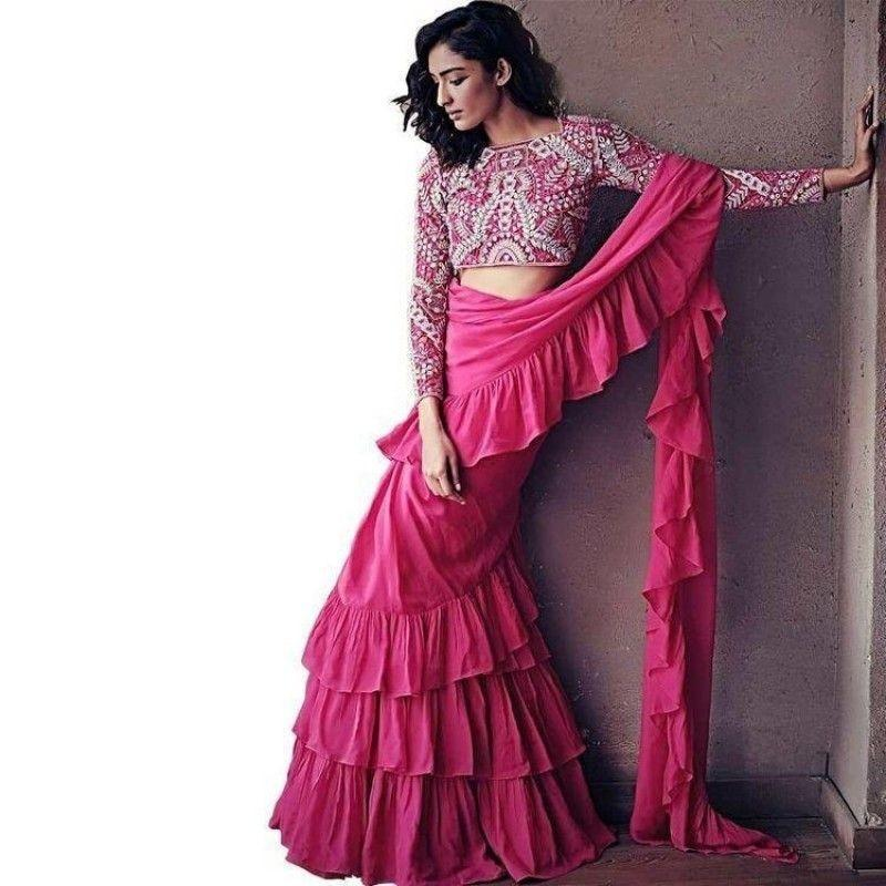 New look pink color designer saree