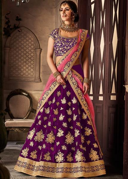Stylish Purple  Color Velvet Silk Designer Lehenga Choli