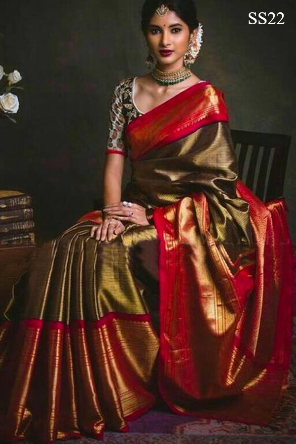 Pretty Red And Green Color Soft Silk Designer Saree