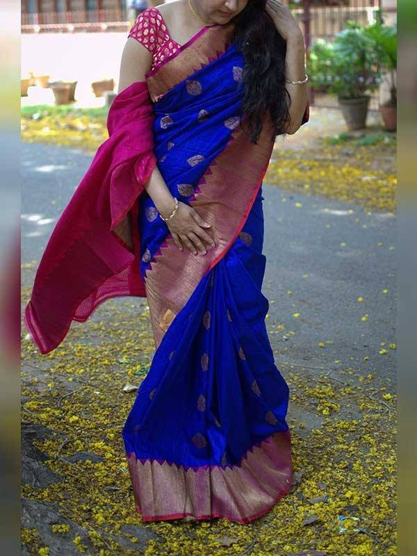 South Indian Blue Color Soft Silk Designer Saree