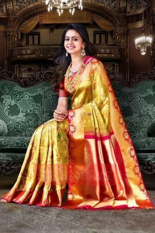 South Indian Golden Color Soft Silk Designer Saree