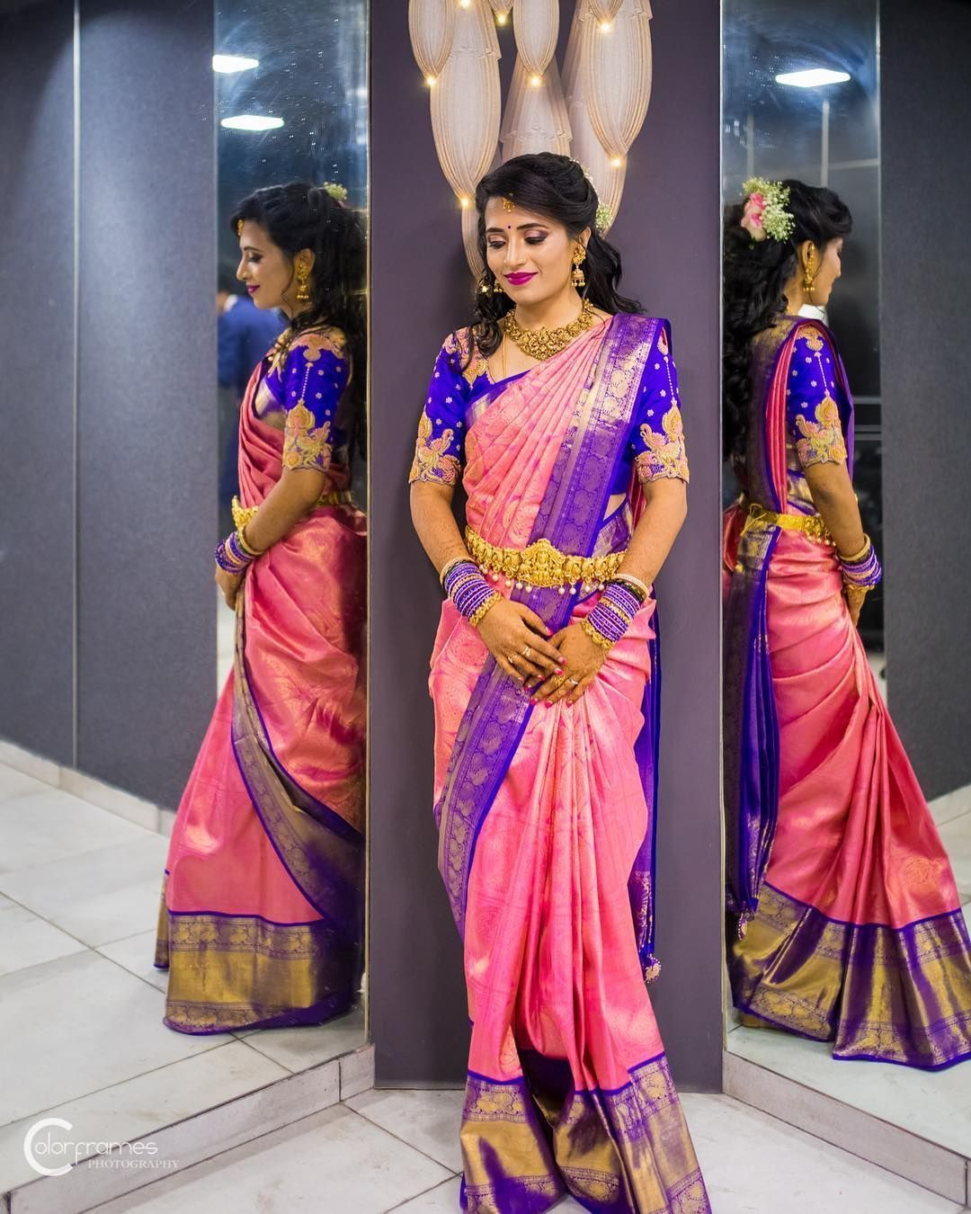 South Indian Pink Color Soft Silk Designer Saree