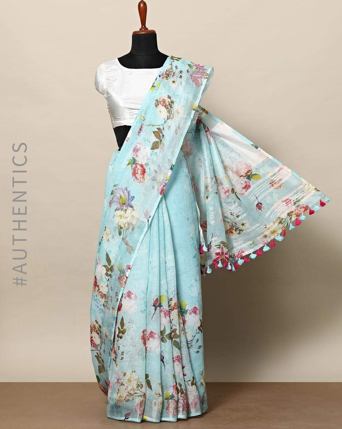 Awesome Light Blue Color  Linen Designer Saree