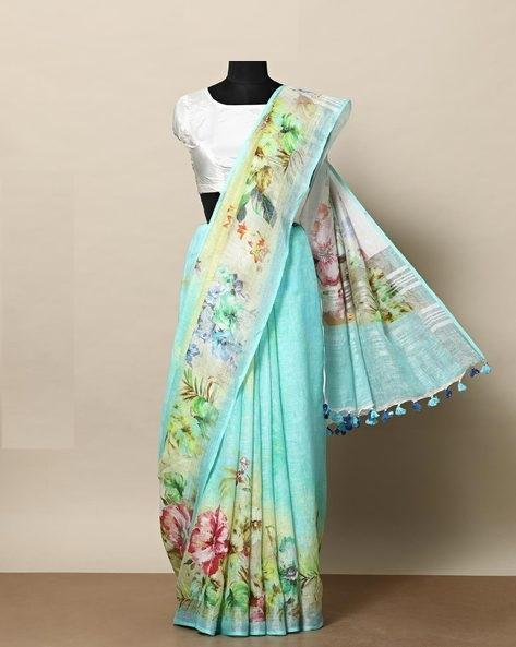 Beautiful Sky Blue Color Linen Designer Saree