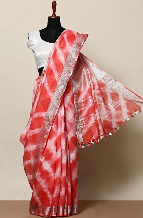 Adhesive Red Color Linen  Designer Sareee