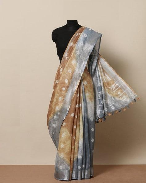 Awesome Brown And Grey color Linen Designer Saree